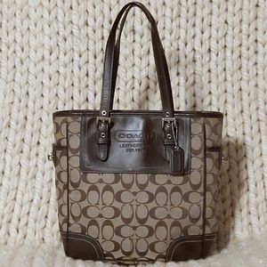 Coach Signature Gallery Brown & Tan Leather Tote